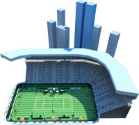 Play miCoach tennis in fantasy tennis courts including a yatch with acuarium floor and in the middle of a expressway!